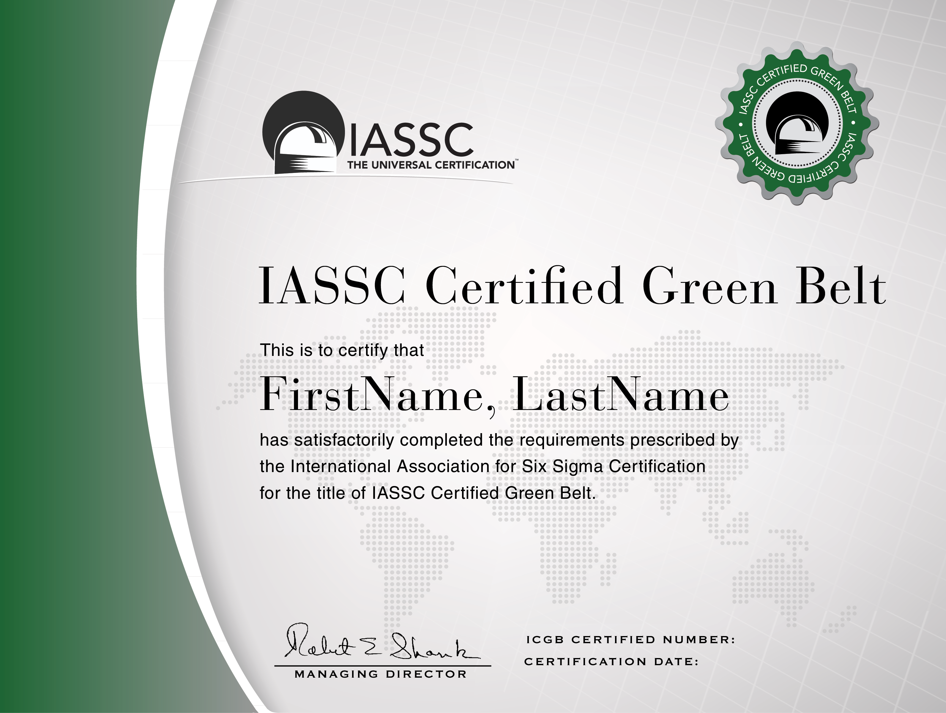 Iassc lean six sigma green belt certification for Six sigma black belt certificate template