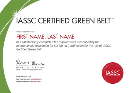 Green belt certification international association for for Six sigma black belt certificate template