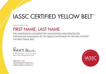 yellow belt certification - international association for six sigma